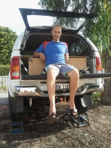 Sitting on the hilux tailgate