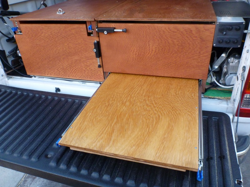 workbench partially extended from drawers