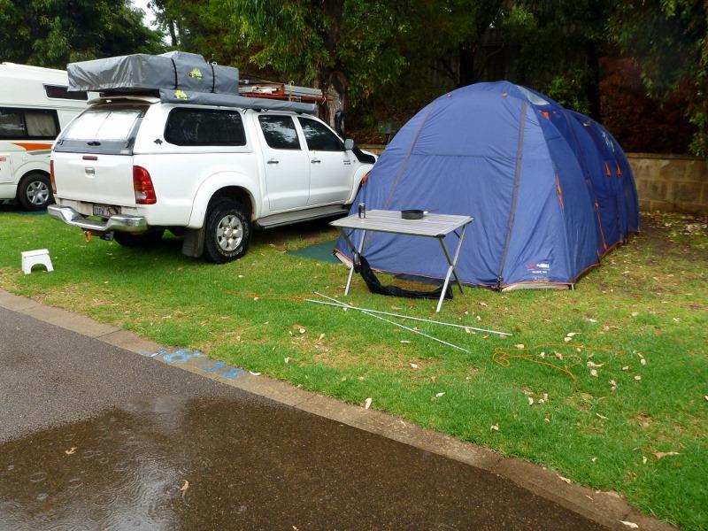 Esperance Holiday Park camping in rain