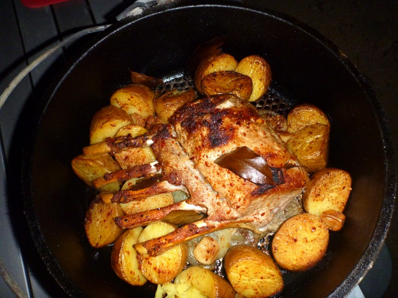 camp oven roast pork