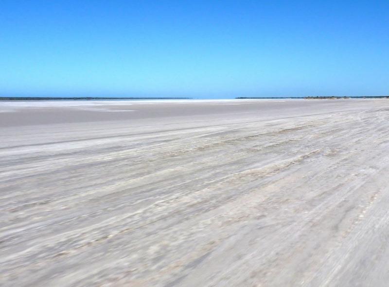 driving across israelite bay salt flats
