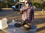 sharni preparing dinner at mt ragged