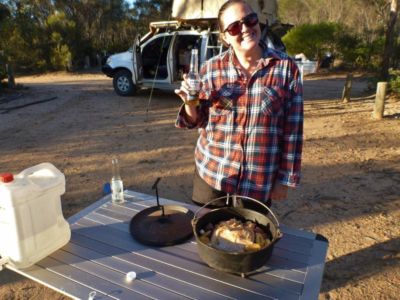 sharni preparing dinner at mt ragged
