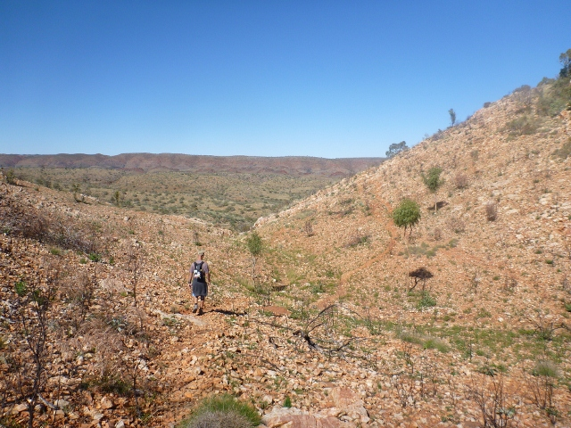 Walking the Larapinta Trail near Ellery Creek Big Hole