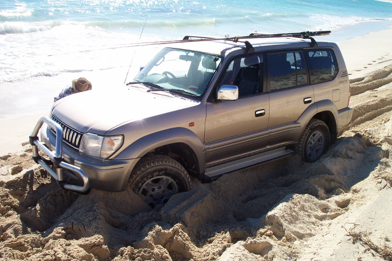 bogged on beach