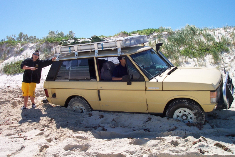 sand driving bogged on beach, wedge island, western australia