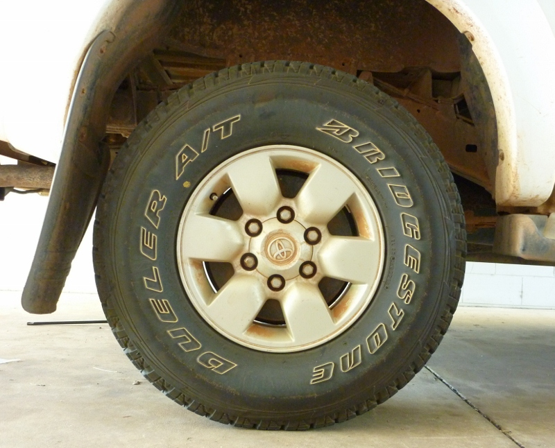 Bridgestone D694 mounted to hilux before being inspected and rotated