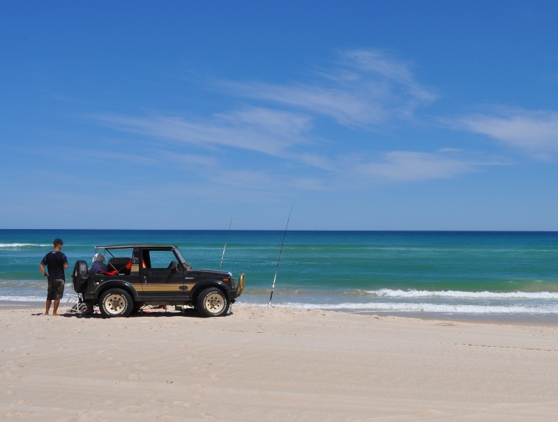 fishing on the beach like this requires driving on sand