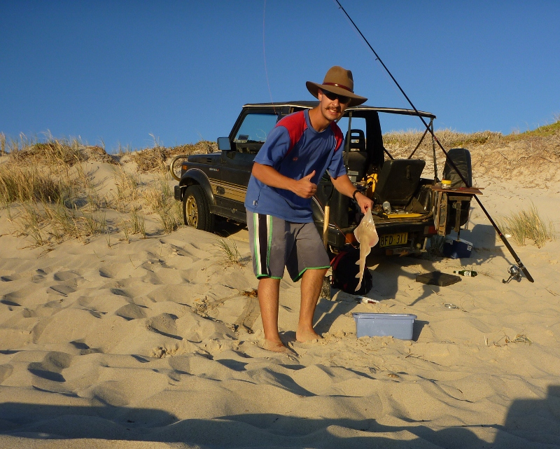 fishing on beach, pipidinny, western australia, when it was still legal to drive there