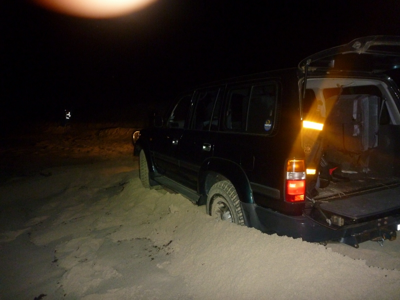 landcruiser bogged in sand near catastrophe north of Lancelin