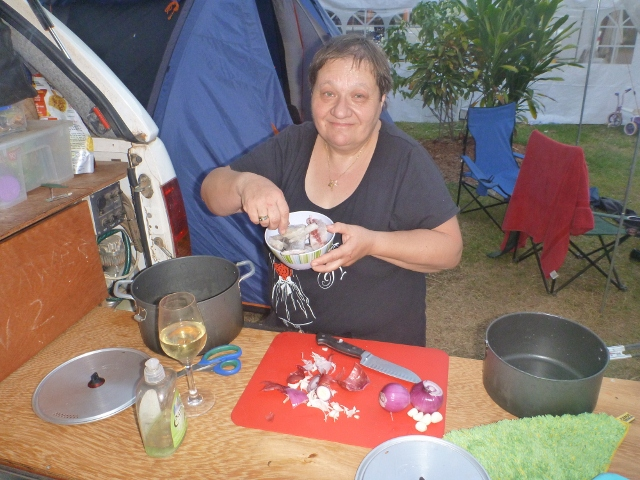Cooking Dinner at the caravan park in Darwin