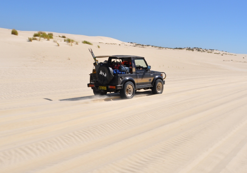driving on sand - sierra through sand dunes, yeagarup, western australia