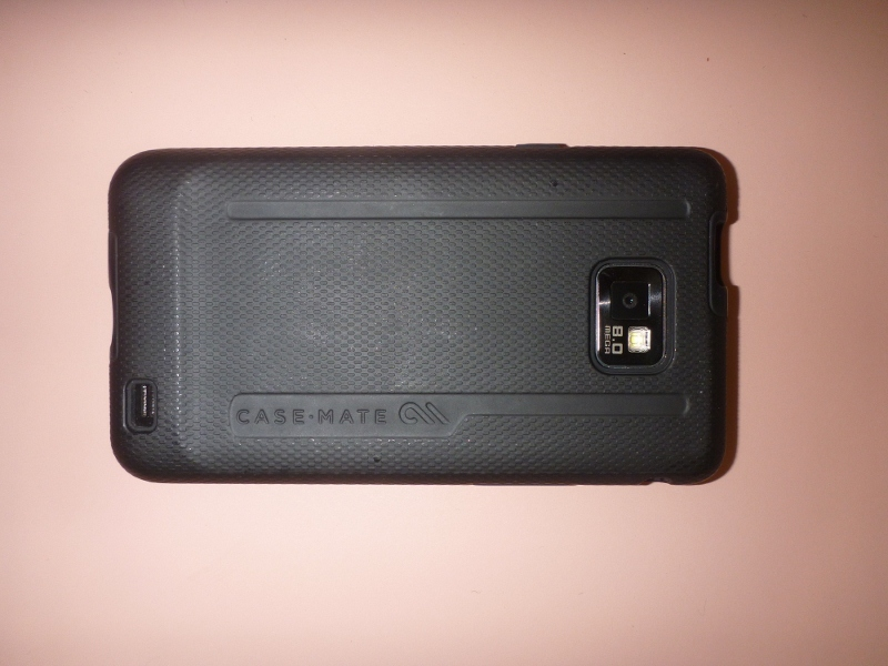 Back of Samsung Galaxy S2 with protective case installed