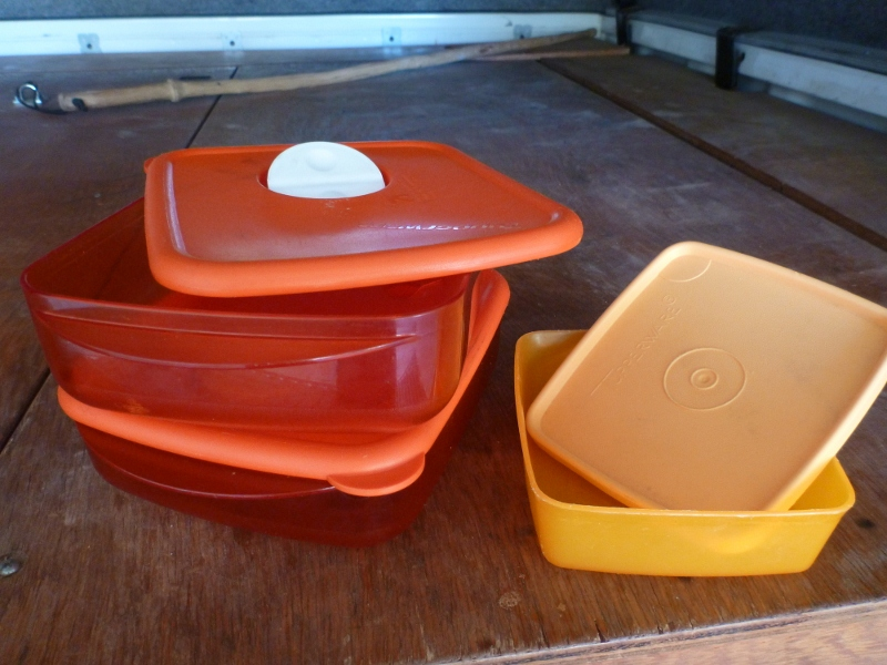Tupperware containers used for camping
