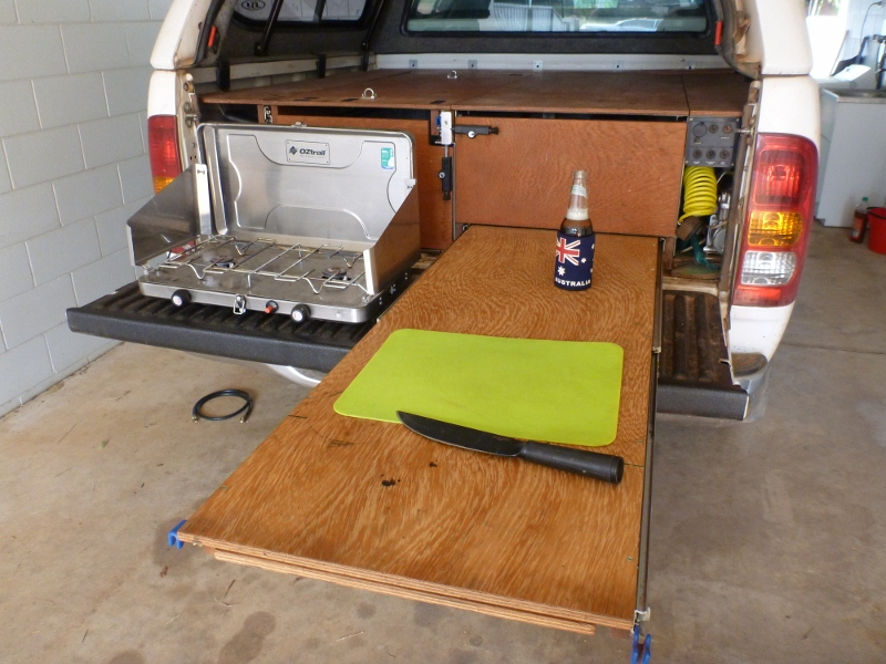 Hilux 4wd storage drawers fridge slide and work bench for Kitchen setup ideas