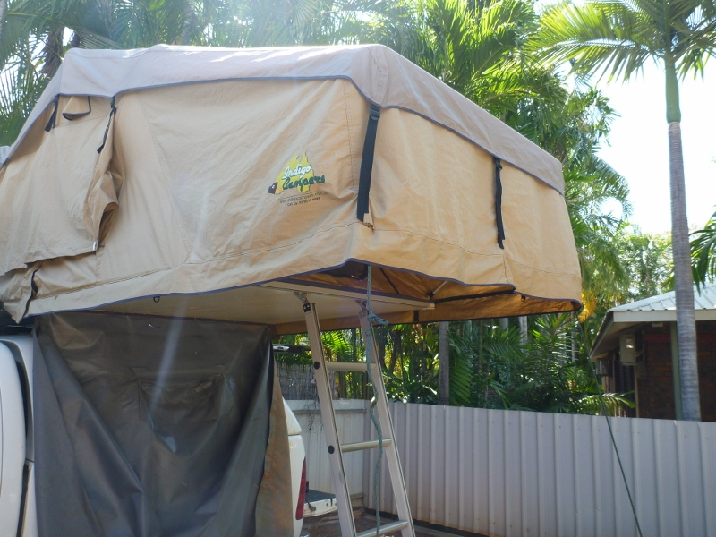 roof top tent erected