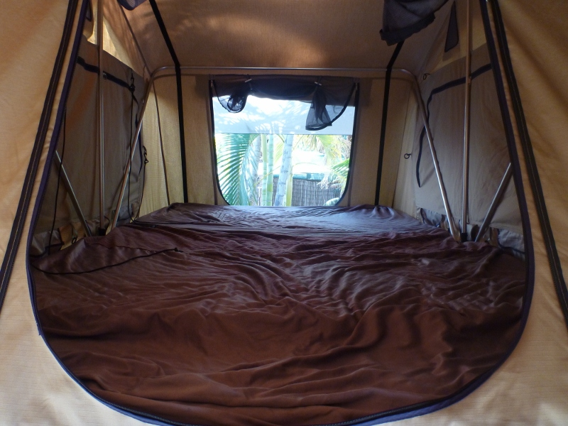roof top tent with extra mattress and customized fitted sheet