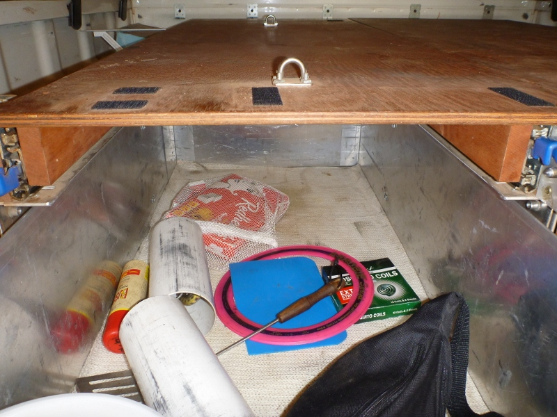 storage drawer with top cross member cut out