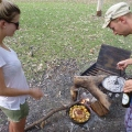 checking camp oven progress