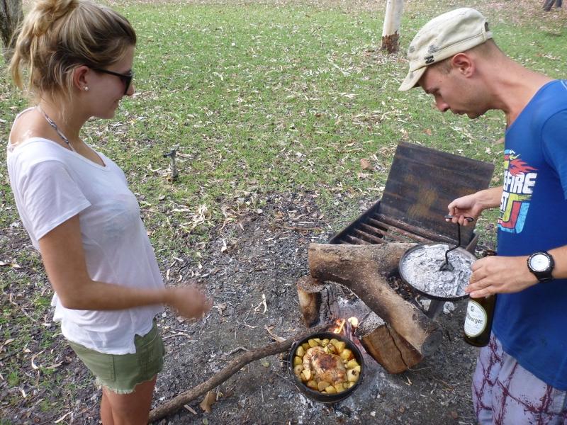 checking camp oven progress