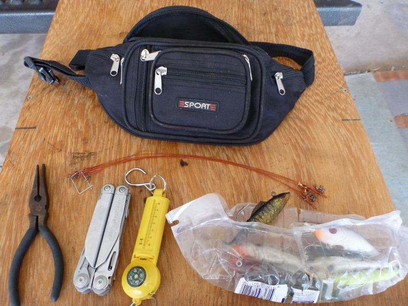 fishing bum bag emptied