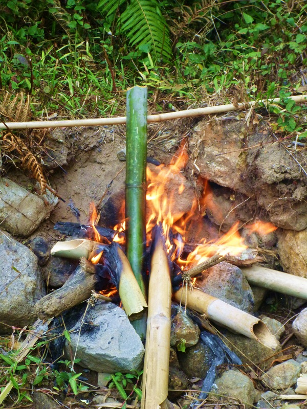 boiling water in bamboo