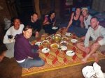 eating dinner in thai hill village home