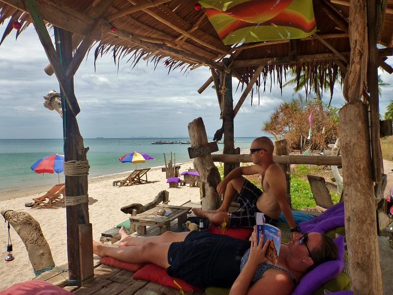 ko lanta relaxing on beach
