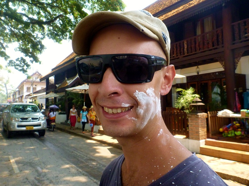 hit by flour for laos new year