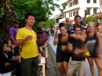 party outside our guesthouse in laos