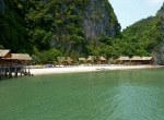 beach on island in ha long bay