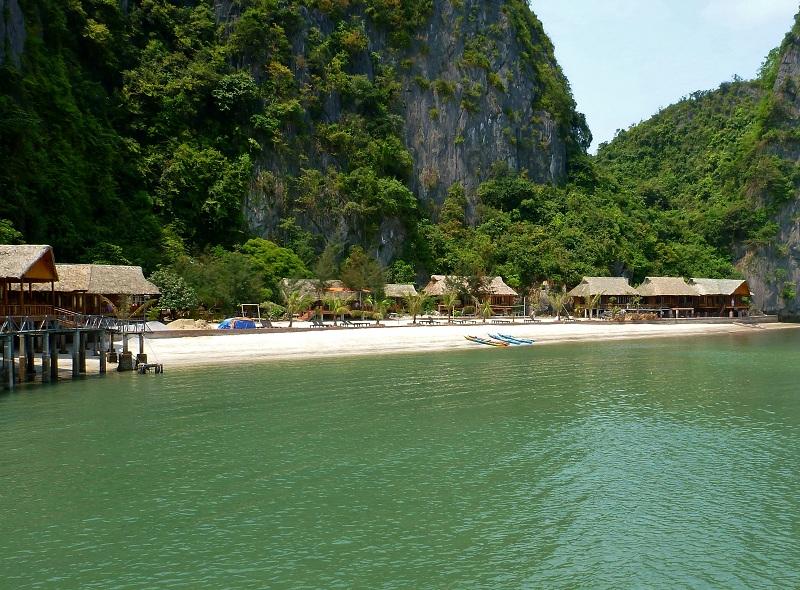 beach on island in ha long bay