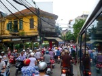 Caught in traffic on the bus in Hanoi