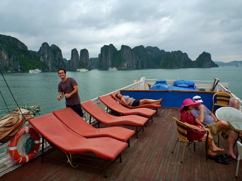 top deck in ha long bay