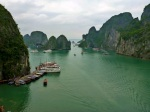 view from cave lookout over ha long bay