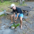 chopping sprouted coconut at chili beach