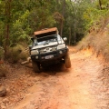 hilux lifting a wheel up pascoe river ascent