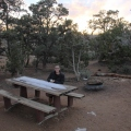 Camping Spot with our first snow experience in the USA, Mojave Preserve Californi