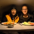 First dinner inside our Jucy Campervan, Mojave Preserve California