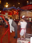 Joe getting spanked by a nurse for not finishing his food, Heart Attack Grill, Freemont Street Las Vegas