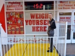Joe weighing in at the Heart Attack Grill, Freemont Street Las Vegas