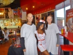 Pic of in our hospital gowns with our sexy nurse waitress, Heart Attack Grill, Freemont Street Las Vegas
