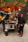 sharni ordering a hotdog in new york city