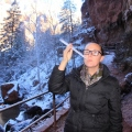 Sharni smoking an icicle, Zion National Park