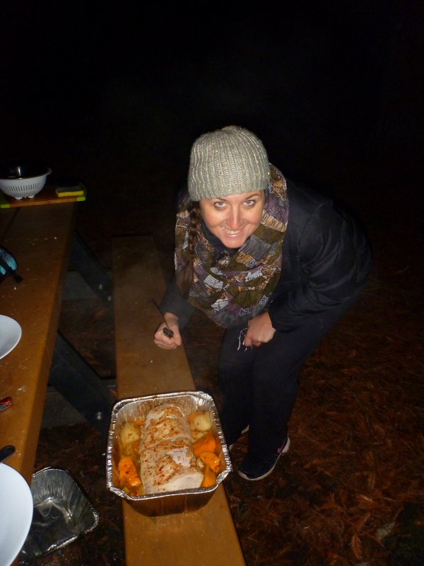 camp oven roast cooked