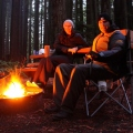 campfire in redwoods california