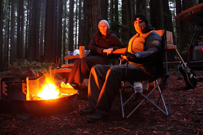 campfire in redwoods california