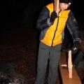 splitting firewood with knife