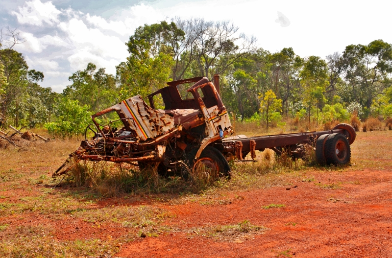 16 wrecked truck near bamaga