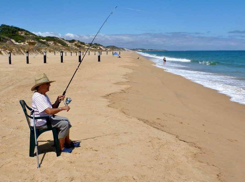 nonna fishing at myalup beach